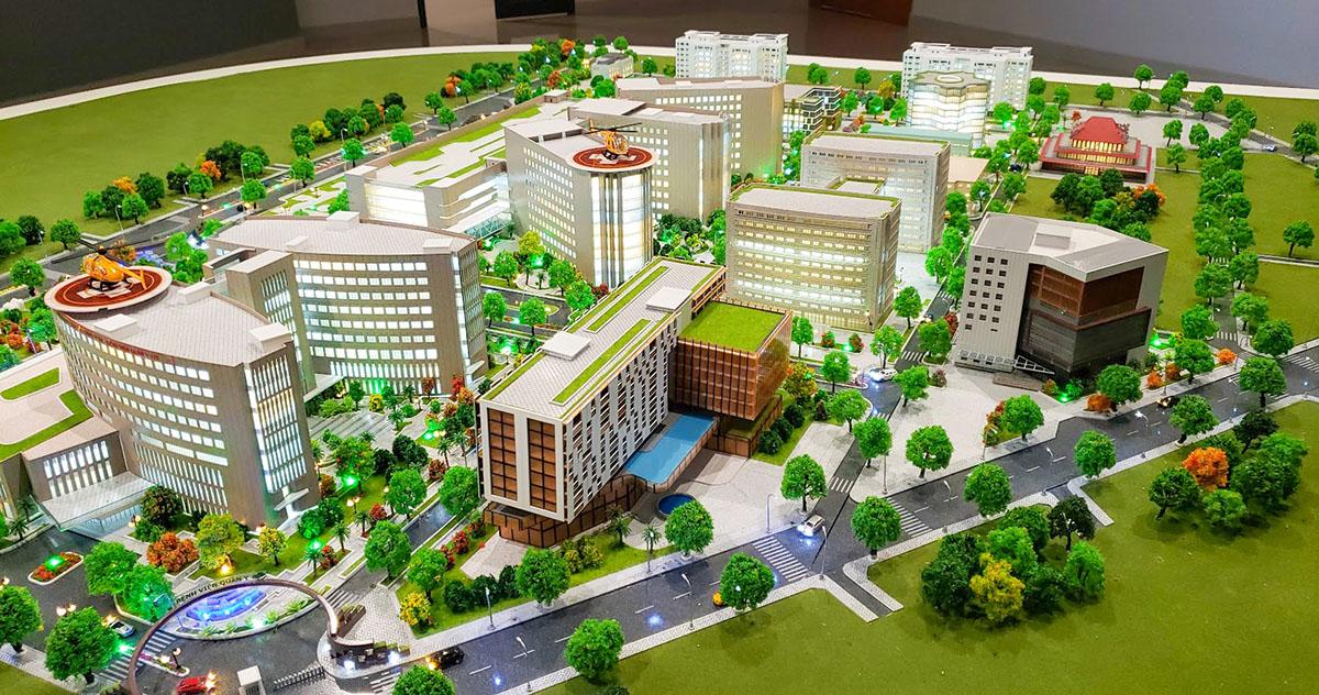làm mô hình kiến trúc sa bàn bệnh viện quân y 175 5